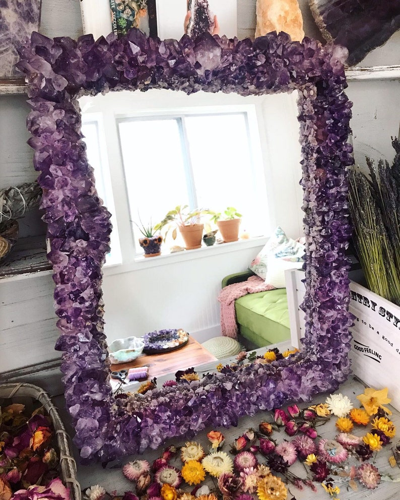 AMETHYST Crystal Mirror // MADE To ORDER 2-4 months lead time image 0