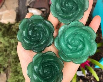 GREEN AVENTURINE ROSE / carved crystal collectors specimen