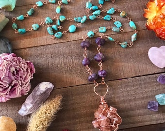 OOAK ARAGONITE wire wrapped necklace // RUBY & Turquoise copper // gemstones healing metaphysical jewelry
