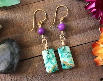 CHRYSOCOLLA & PHOSPHERIDITE gold filled dangle Earrings