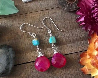Pink CHALCEDONY & TURQUOISE Sterling dangle Earrings