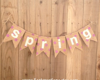 SPRING Burlap Bunting // Polka Dot Burlap // Seasonal decoration