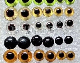 glass eyes - 3mm~5mm a set of 17 pairs total in 6 colors or 8mm a set of 5 pairs total in  5 colors