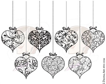 Gold Hearts Clipart Metallic Gold Floral Hanging Hearts Etsy