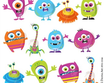 little monster birthday clipart cute monsters party silly etsy