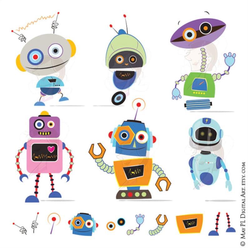 Cute Robots Clipart Make Robot Theme Birthday Party