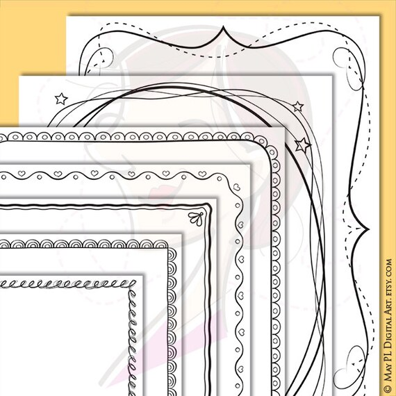 Page Border Frames Whimsical Frame Png Clipart Cute Doodle Etsy