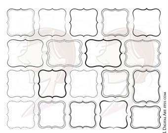 Digital Fancy Shapes Clipart Vector Frames Clip Art DIY Logo Commercial Personal Use Cardmaking Scrapbook Supply Label Tags Png Files 10497