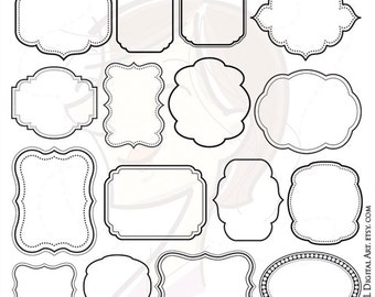 Digital Scrapbook Frames Download VECTOR Clip Art Commercial Use DIY Invitations Teacher Label Tags Transparent Middle Jpg Png Images 10139