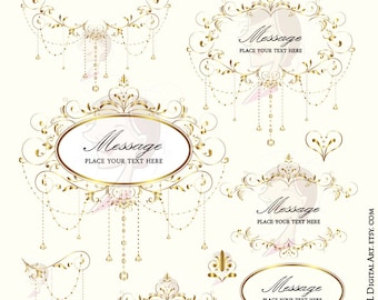 Wedding Clip Art Gold Foliage Clipart Vine Monogram Frame Crystal Chandelier Garland Retro Design DIY Programs Invitations Graphics 10396