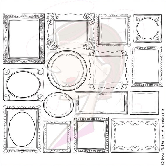 Doodle Frame Border Cute Handdrawn Doodles Clipart Of Etsy