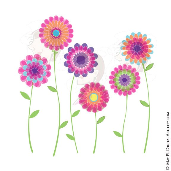 Pink Flower Clipart Spring Flowers Floral Vector Clip Art Etsy