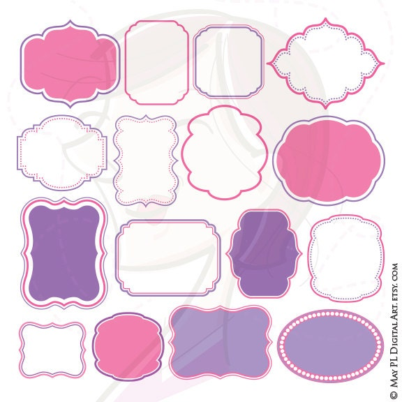 Pink Purple Frames Borders Clip Art Make Your Own Baby Etsy