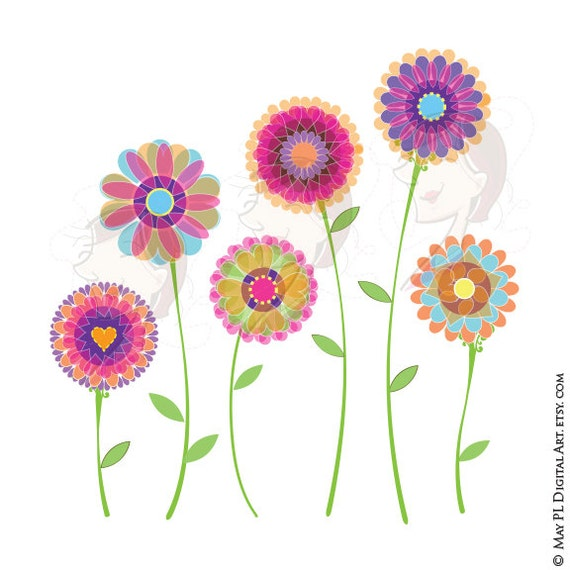 Spring Flowers Clip Art Digital Florals Graphic To Make Etsy