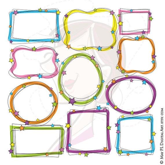 Whimsical Frame Clipart Digital Doodle Frames Hand Drawn | Etsy