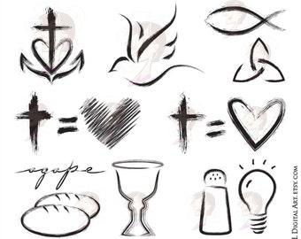 Christian Clipart featuring Church Symbols - Cross Equals Love, Faith, Hope, Love, Holy Spirit, Fish, Salt And Light, Communion 10744