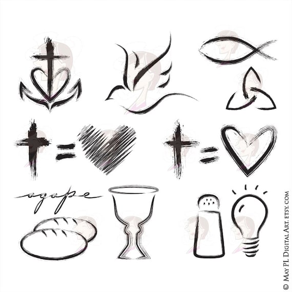 Christian Clipart Featuring Church Symbols Cross Equals Etsy