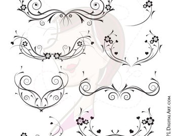 Decorative Black Vines Png - featuring Floral Flourish VECTOR for Wedding Invitation, Cardmaking, Scrapbook - FREE Commercial Use 10086