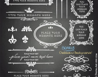 DIY Chalkboard Sign - Design your Business Cards, Labels or Wedding Invitation with easy-to-use Clipart - FREE Commercial Use 10643