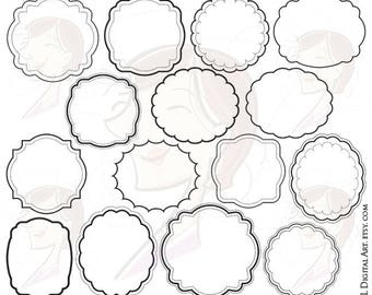 Frames Digital Download- featuring 15 Round and Oval Frame Clipart, includes scalloped and starburst SVG borders- Free Commercial Use  10502