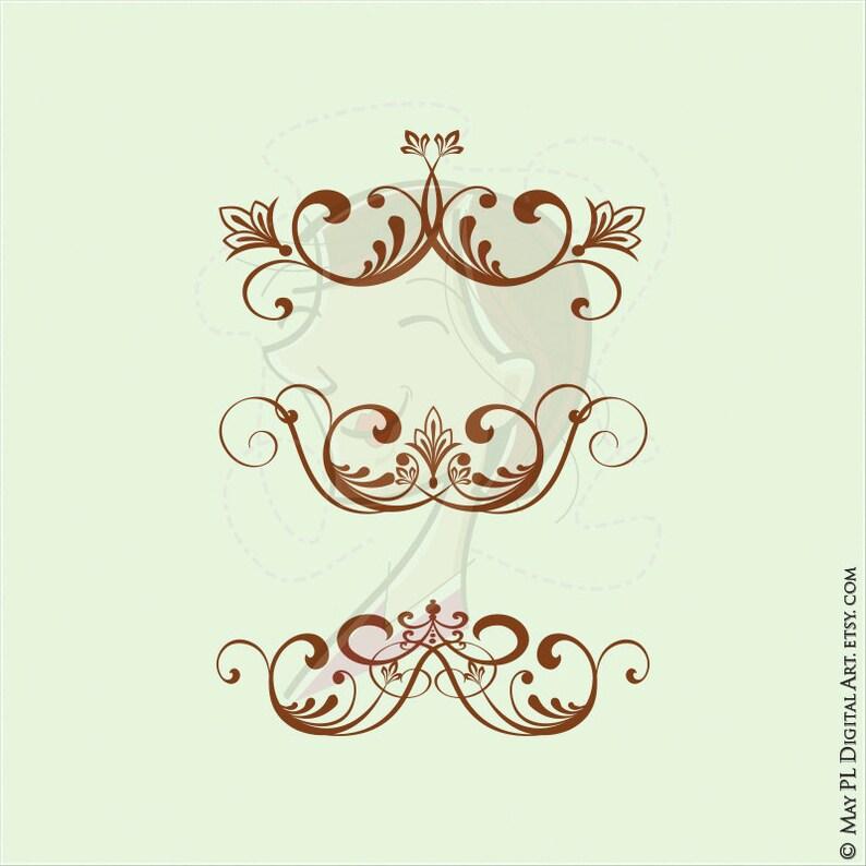 Flourish Vector Vintage Clip Art DARK BROWN Floral Swirls ...