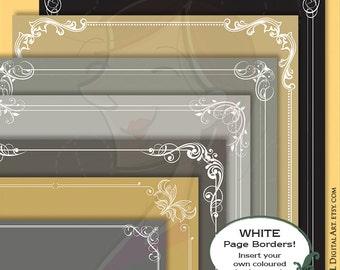 Decorative Frame Border White - DIY Invites, Award Certificate with Borders Corners Flourish Foliage 8x11 - FREE Commercial Use 10754