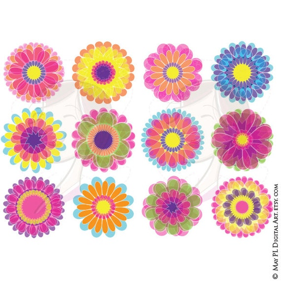 Flower Digital Clipart 12 Beautiful Flowers Clipart Floral Graphics Includes Vector Files Free Commercial Use 10674