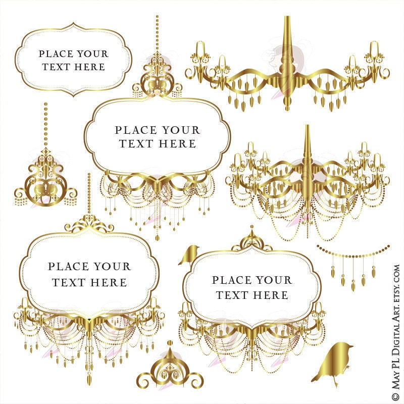 Chandelier Frame Vector Gold Clipart Vintage Signs great as
