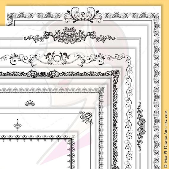 Page Borders Frames Black 8 X 11 Rectangle Digital Vector Etsy