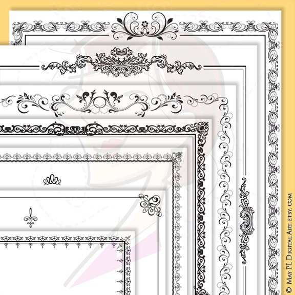Page Borders Frames Black 8 X 11 Rectangle Digital Vector Etsy