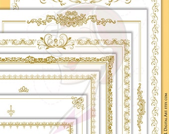 Antique Gold Frames Page Borders 8x11 Clipart Vintage French Ornate Flourish Wedding Office Document Award Certificate Forms Diploma 10625