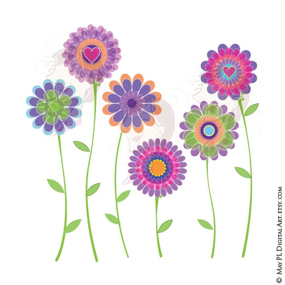 Spring Flowers Clipart Digital Clip Art Purple Floral Graphics Etsy