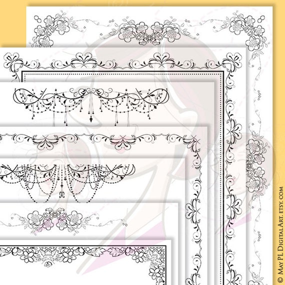 Vintage Borders Clipart 7 Digital Page Frames With Chandelier Flourish Swirls Design 8x11 Pretty Frame Border Set Diy Wedding 10361