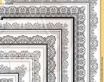 8x11 Certificate Border Frames VECTOR Clip Art Vintage Diplomas Award Document Lace Decorative Borders Digital Vertical Page Frames 10049