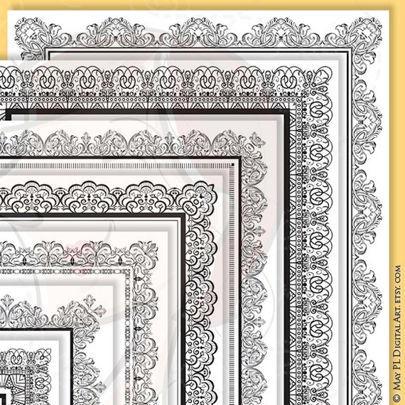 8x11 Certificate Border Frames VECTOR Clip Art Vintage | Etsy