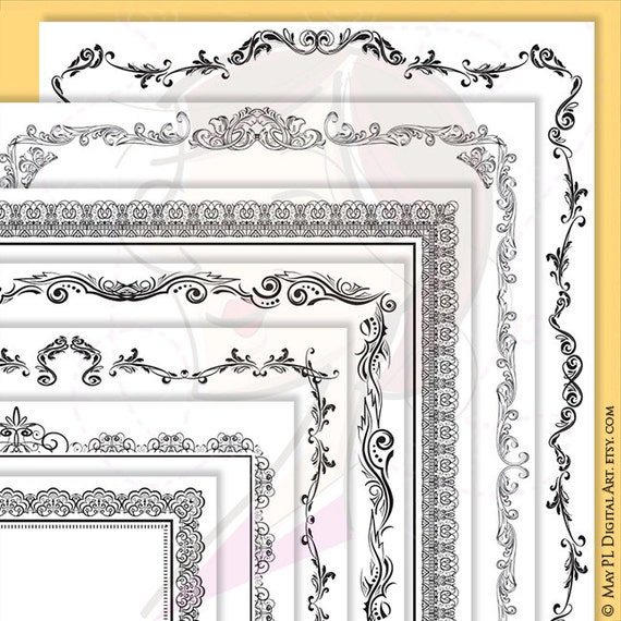 Create Award Certificate Coloring Page | Page Border Certificate Frames Vintage Borders Great As Award Etsy