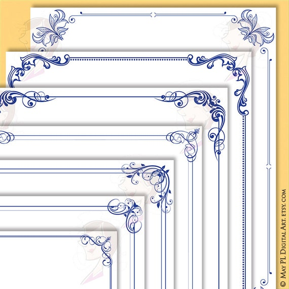 Navy Blue Borders and Frames 8x11 Decorative Border Corner