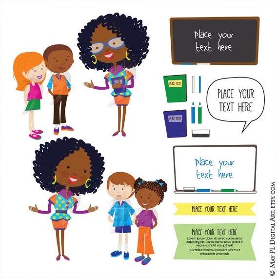 Cute School Clipart Teacher Children Listen Clipart ...