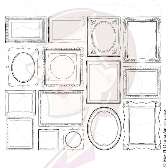 Handdrawn Doodle Clipart Frame Clip Art Commercial Use Etsy