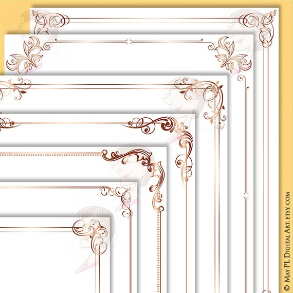 Rose Gold Borders Png Clip Art - Decorative Retro Frames complete ...