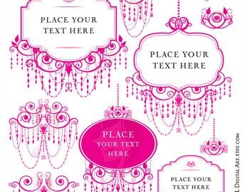 Pink Chandelier Frames Clip Art for Blog Branding or DIY Business, Wedding Logo - Vintage Design in Hot Pink - FREE Commercial Use 10188