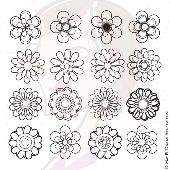 Flower Stamps Vector Clipart Digital Stamp To Make A