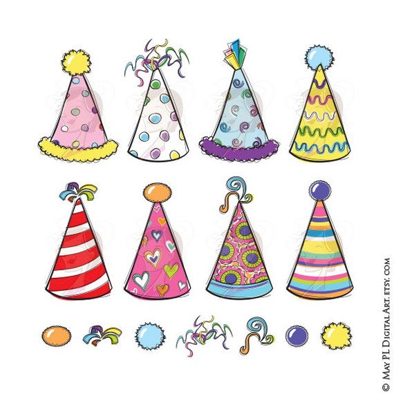 Party Hats Clipart Birthday or New Years Eve Party DIY | Etsy