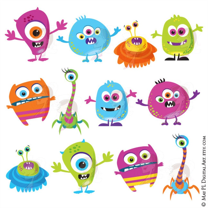 Cute Little Monster Clipart DIY Invitation Birthday Party