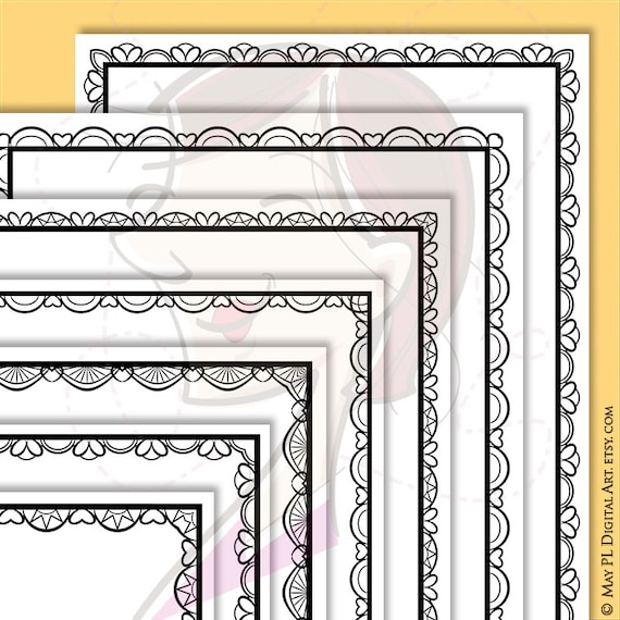 Lace Border Frames 8x11 Clipart great for decorating