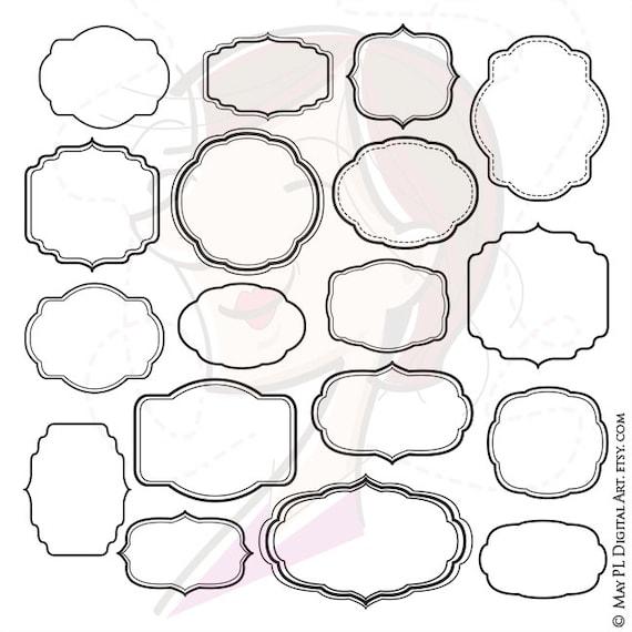 Digital Frame Clipart Shapes Clip Art Scrapbook Office | Etsy