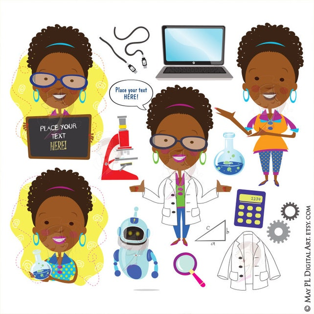 science teacher scientist african american woman clipart etsy rh etsy com Elementary Science Clip Art Science Clip Art School