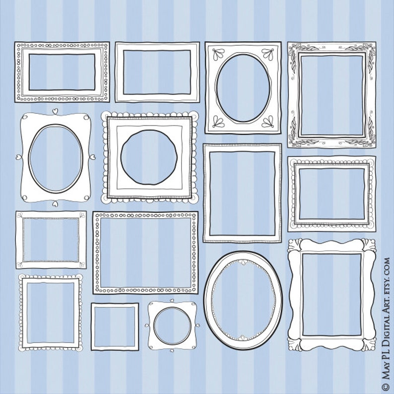 Hand Drawn Borders Frames Clip Art - Doodles great for Photographers, Back  To School, Scrapbooking, Crafts - FREE Commercial Use 10484