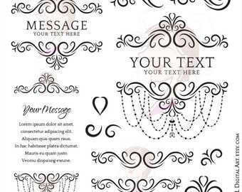 Elegant Flourish Design with Chandelier Frames - perfect as Logo, Signs, Invites, and so much more - Commercial Use 10388