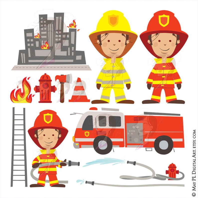 a7663ccb87a Fireman Birthday Party Clipart features Firefighter Fire
